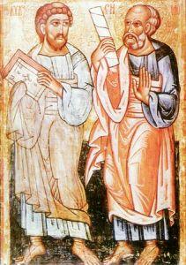 Рукописная икона Апостолы Лука и Симон купить с доставкой