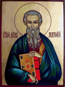 Рукописная икона Апостол Матфей