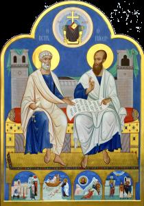 Рукописная икона Апостолы Петр и Павел купить с доставкой