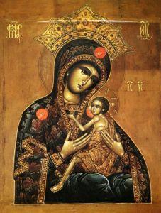 Рукописная  Арапетская икона Божией Матери