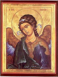 Рукописная икона Архангел Гавриил купить с доставкой