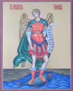 Рукописная икона Архангел Рафаил купить с доставкой