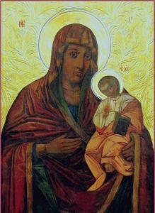 Рукописная икона Бежевская Божия Матерь купить с доставкой