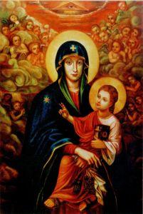 Рукописная икона Бердичевская Божия Матерь