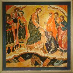 Рукописная икона Беседа Христа с богатым юношей купить с доставкой