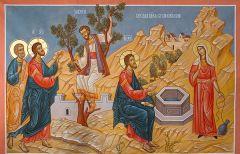 Рукописная икона Беседа Христа с самарянкой купить с доставкой