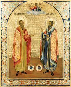 Рукописная икона Благоверные князья Василий и Константин Ярославские купить с доставкой