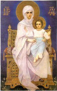 Рукописная икона Богоматерь на престоле купить с доставкой
