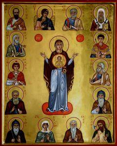 Рукописная икона Богоматерь с пророками купить с доставкой