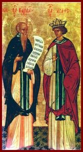 Рукописная икона Варлаам и Иосаф купить с доставкой