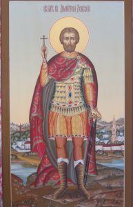 Рукописная икона Святой Дмитрий Донской купить с доставкой