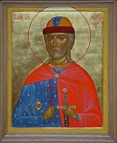 Рукописная икона Довмонт Псковский купить с доставкой