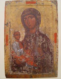 Рукописная икона Валанасская Божия Матерь