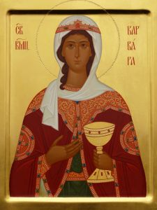 Рукописная икона Святая Варвара Илиопольская