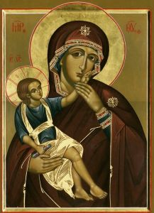 Рукописная икона Ватопедская Божия Матерь купить с доставкой