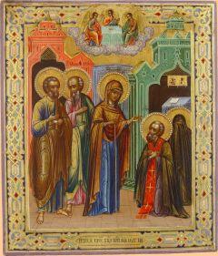 Рукописная икона Видение (Явление) Богоматери Сергию Радонежскому купить с доставкой