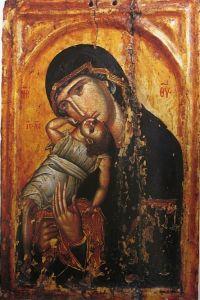 Рукописная икона Византийская Божия Матерь купить с доставкой