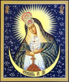 Рукописная икона Виленская Остробрамская Божия Матерь