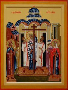 Рукописная икона Воздвижение Креста купить с доставкой