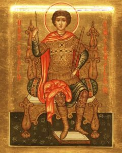 Рукописная икона Георгий Победоносец на троне