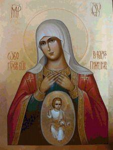 Рукописная икона Помощница в родах