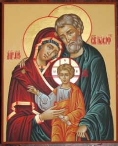 Рукописная семейная икона 8 (Святое Семейство) купить с доставкой