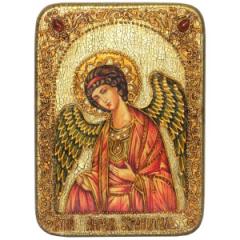 Икона ручной работы Ангел Хранитель с камнями купить с доставкой