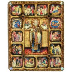 Икона Николай Чудотворец с Житием камни купить с доставкой