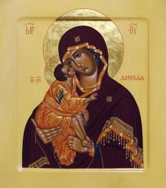 Рукописная икона Донская Божия Матерь
