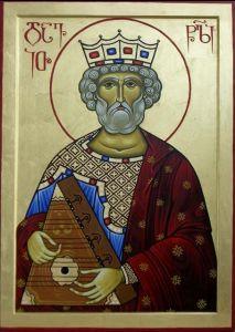 Рукописная икона Давид Псалмопевец