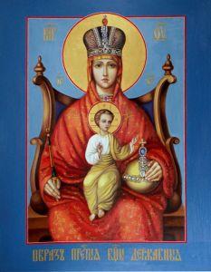 Рукописная икона Державная Божия Матерь купить с доставкой
