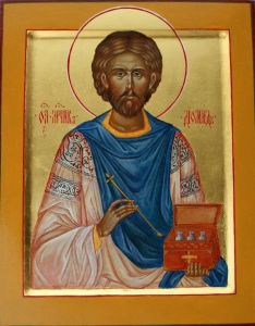 Рукописная икона Диомид Врач