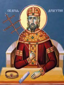 Рукописная икона Драгутин Сербский купить с доставкой