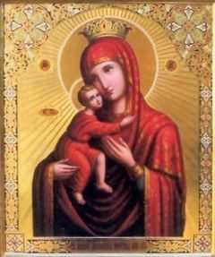 Рукописная икона Дубенская Красногорская Божия Матерь