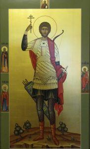Рукописная икона Святой Евгений Севастийский купить с доставкой