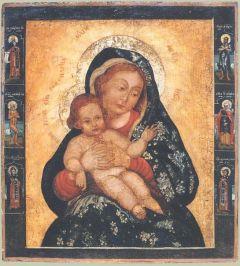 Рукописная икона Евтропьевская Божия Матерь