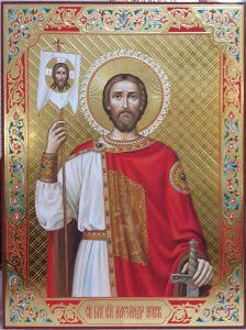Рукописная икона Александр Невский с резьбой купить с доставкой