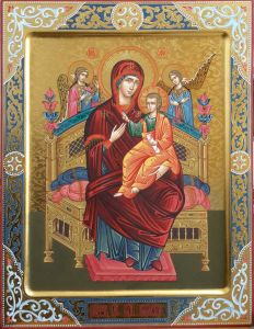 Рукописная икона Всецарица с резьбой купить с доставкой