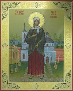 Рукописная икона Ксения Петербургская с резьбой купить с доставкой