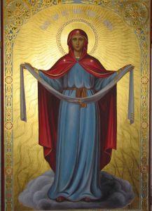 Рукописная икона Покров Божией Матери с резьбой купить с доставкой