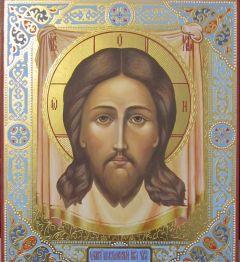 Рукописная икона Спас Нерукотворный с резьбой купить с доставкой