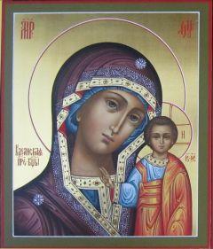 Рукописная икона Казанская Божия Матерь