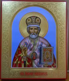 Рукописная икона Николай Чудотворец купить с доставкой