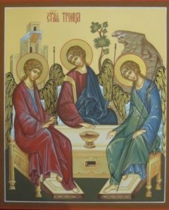 Рукописная икона Троица купить с доставкой