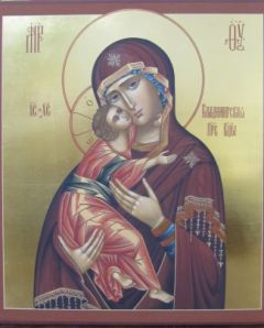 Рукописная икона Владимирская Божия Матерь купить с доставкой