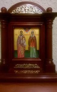Рукописная икона Киприан и Устиния (Иустина) купить с доставкой