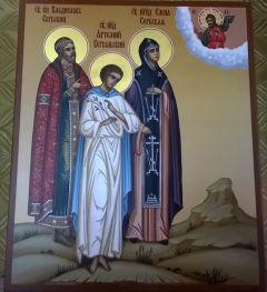 Рукописная семейная икона 3 Святых купить с доставкой