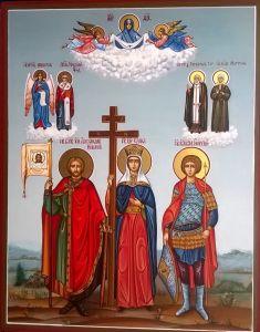 Рукописная семейная икона с предстоящими купить с доставкой