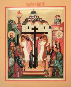 Рукописная икона Животворящий Крест купить с доставкой