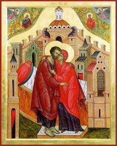 Рукописная икона Зачатие Пресвятой Богородицы купить с доставкой